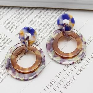 Marble Acetate Banded Hoop Earrings